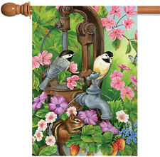 New Toland - Watering Time - Colorful Spring Flower Bird Chipmunk House Flag