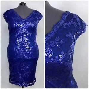 $324 Tadashi Shoji 20 Blue Lace Sequin Cocktail Evening Dress Cap Sleeve V Neck