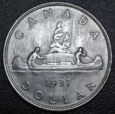 CANADIAN GEM 1937 $1 DOLLAR - .800 SILVER - George VI - Voyageur - High Grade