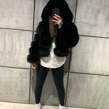 100% Real Rabbit Fur Coat Short Cropped Jacket With Hood