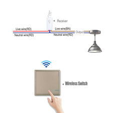Wireless Light Switch Remote Control w/ Receiver Lamp ON/OFF Kit Waterproof IP54
