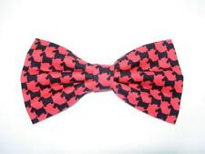 Scottish Terriers Bow tie / Black Scotties on Red Houndstooth / Pre-tied Bow tie