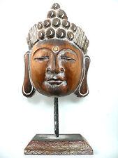 BOUDDHA BOIS MASQUE 40 cm BOUDDHISME ZEN WOOD BUDDHA STATUE MEDITATION DECO SPA