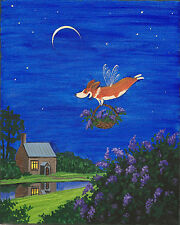 8x10 Print Of Painting Pembroke Welsh Corgi Folk Art Ryta Fairy Lilac Landscape