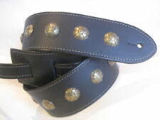 BLACK  LEATHER ANTIQUE BRASS CONCHO GUITAR STRAP