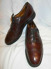 Excellent Johnston&Murphy Mens Oxblood Leather Medallion Toe Brogue Wing Tips 8D