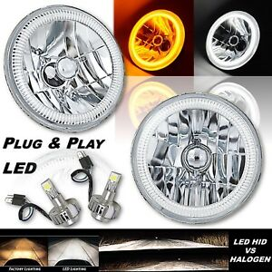 "7"" Crystal Switchback White Halo Angel Eye Amber Turn Signal LED Headlights Pair"