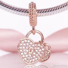 ROSE GOLD CZ DOUBLE HEART DANGLE CHARM ADD ON EUROPEAN STYLE & PANDORA BRACELETS