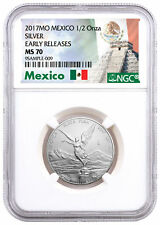 2017-Mo Mexico 1/2 oz Silver Libertad Coin NGC MS70 ER Exclusive Label SKU47080