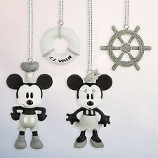 Disney Store Steamboat Willie Mickey & Minnie Mouse 4pc Christmas Ornament Set