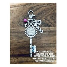 LUCKY SIXPENCE KEY CHARM, 16th, BIRTHDAY, PERSONALISED, keyring