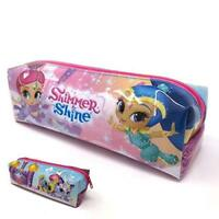 SHIMMER AND SHINE SQUARE BARREL ZIPPED PENCIL CASE CHILDRENS KIDS SCHOOL GIRLS