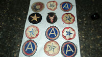 WW2 Army Military Patches cut from uniform set of 12