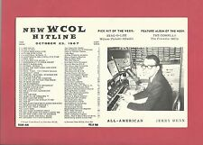 WCOL Radio Music Hit Line Survey Columbus Ohio October 23, 1967 DJ JERRY DEAN