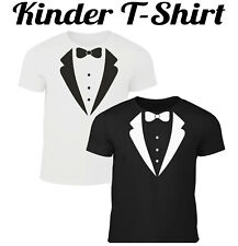Kinder Fun T-Shirt Smoking Schlips Fliege Kostüm Fasching Karneval Anzug Jungs