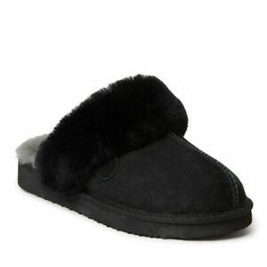Fireside By Dearfoams Sydney Women's Slipper Black size 8W New In Box
