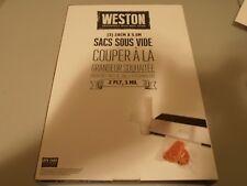 "Weston vacuum sealer qty 3 bag rolls 2 ply 3mil 11"" x 18' create custom size"