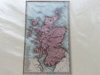 SCOTLAND - ANTIQUE MID 19th CENTURY MAP BY T STARLING IN COLOUR