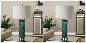 TWO ALMANZORA MODERN SPUN SUGAR GLASS TABLE LAMPS BRUSHED NICKEL METAL