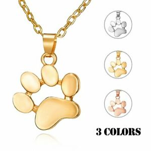 Fashion Cat Dog Paw Animals footprint Necklace Pendant Family Love Charm Gift