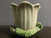 Vintage McCoy Tulip Planter Gray Green Misspelled