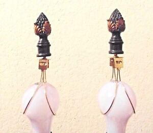 """FINIALS A PAIR OF 3""""H FANCY CERAMIC PINEAPPLE CONE FINIALS w/ BULB CLIP ADAPTERS"""