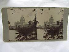 ANTIQUE STEREO CARD PHOTOGRAPH EXHIBITION BUILDING MELBOURNE