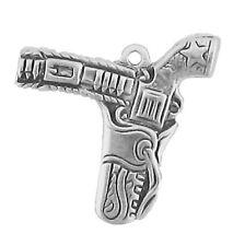 Sterling Silver Pistol Gun In Holster Charm 1.9gr Bracelet Necklace Jewellery