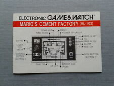 NINTENDO GAME&WATCH MARIO´S CEMENT FACTORY ML-102 ORIGINAL INSTRUCTION MANUAL