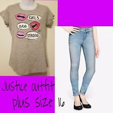 NWT JUSTICE Girls Outfit ~ 16 plus shirt ~ 16.5 SKINNY JEANS ♡ Girls are strong
