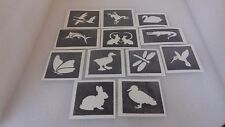 30 x river themed stencils for glitter tattoos / airbrush  swan fish duck geese