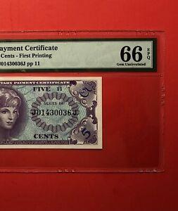 641 SERIES 5C MILITARY PAYMENT CERTIFICATE(1st PRINT),PMG GRADED,GEM UNC 66 EPQ.