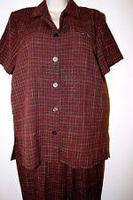 SAG HARBOR Petite Brown Multi-Color Plaid Short Sleeve Pant Suit Size PS