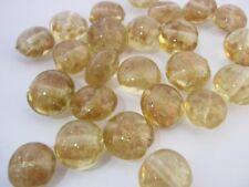 "10 Gold Coin Beads, Lampwork Glass Glitter 12mm (1/2"") Christmas Jewellery Beads"