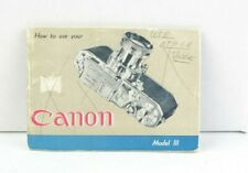 Canon Model III Camera Instruction Booklet User Guide English AC (367)
