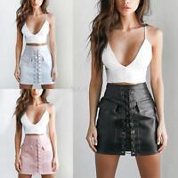 Vogue Lady High Waist Slim Lace Up Suede Leather Pocket Short Preppy Mini Skirt