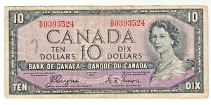 Canada 1954 10 Dollar Devil's Face P-69a Coyne/Towers FINE- Ink mark on front