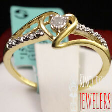LADIES WOMEN'S HEART SHAPE YELLOW GOLD FINISH PROMISE GENUINE DIAMOND RING BAND
