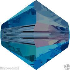 SWAROVSKI 5328 XILION Bicone Beads 4mm: CAPRI BLUE AB 2X (50 Perline)