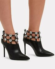 Alexander Wang Tina Leather Studded Grid Cage Booties 37,5 (38)