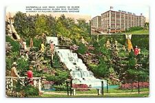 Vintage Postcard Illinois IL Olson Rug Factory and Rock Garden Chicago B2