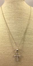 Vintage Style Necklace CZ's Crystal Cross Pendant Silvertone Adjustable