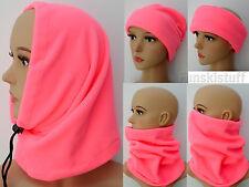 Ladies PINK NEON FLUORESCENT SNOOD fleece neck face warmer scarf hat hi vis ski