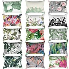 Rectangle Pillow Case Floral Leaves SofaThrow Waist Cushion Cover Home Decor