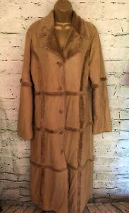 Paul Berman Tan Faux Suede Fur Lined Full Length Oversize Coat Approx UK 12/14