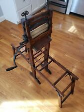 Antique c1900 Hand Crank American Floor Stand Folding Bench Clothes Wringer