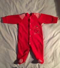Vintage Little Me By Schwab 1986 Girls/Boys Red Velour One-Piece Large 18-21 Lb