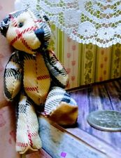 """Miniature burberry Teddy bear 2"""" jointed plush, dollhouse, toy gift doll clothes"""