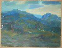 Russian Ukrainian Oil Painting Impressionism Ridge clouds Carpathian mountains