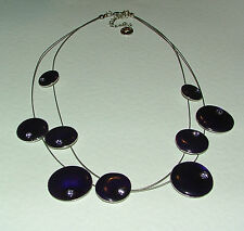 """STUNNING RICH PURPLE SILVER PLATED SATELLITE NECKLACE GLASS STONES 16"""""""
